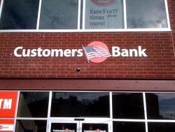 Stud Mounted Sign for Customers Bank